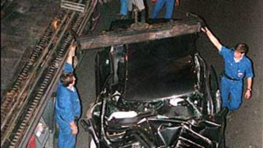 The wreckage of the Mercedes the pair were travelling in when it crashed