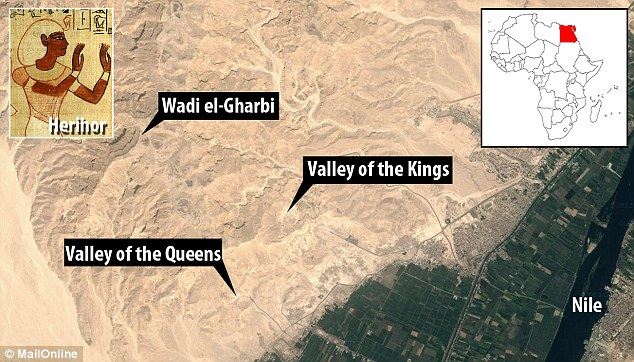 Search: It is believed three priest kings - Herihor, Piankh and Menkheperre - were buried in Wadi el-Gharbi in Luxor's west bank near the Valley of the Kings and the Valley of the Queens