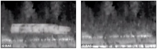 Now you see it; The BAE Adaptic camogflague system expected to be used on the tank showing normal images (left) the the disguised image (right)