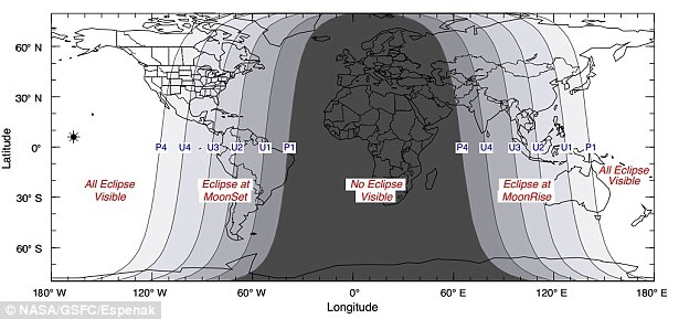It will be most visible in the northwestern third of America (illustration shown), where all stages can be witnessed. Farther east in the US, various phases will occur after moonset. None of the eclipse will be visible from Europe, Africa or the Middle East though
