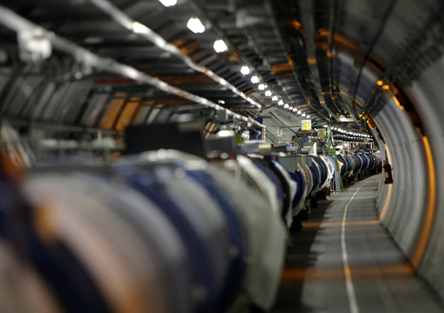 The LHC (large hadron collider) in its tunnel at CERN (European particle physics laboratory) near Geneva, Switzerland. After a two-year shutdown and upgrade, it is about to ramp up for its second three-year run.