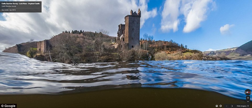 Google partnered with Catlin Seaview Survey and Adrian Shine from the Loch Ness and Morar Project to capture the Street View images (Loch Ness and Urquhart Castle pictured). The site has launched to mark the 81st anniversary of the 'Surgeon's Photograph' - an image of the mythical monster from 1934 - and it lets people virtually explore above and beneath the water of the attraction to the southwest of Inverness