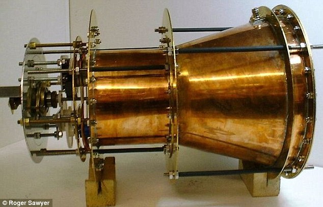 The concept of an EmDrive engine is relatively simple. It provides thrust to a spacecraft by bouncing microwaves around in a closed container. Pictured is the first device created by Roger Sawyer