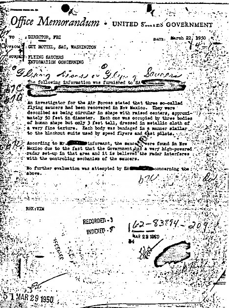 Proof of (alien) life? A copy of the 1950 memo that recounts the discovery of flying saucers and aliens in New Mexico. The memo has been published on the FBI website