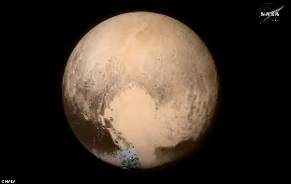 The area seen here, from the bottom right part of the dwarf planet near its 'heart' is 150 miles across, and shows areas 1.5 mile across
