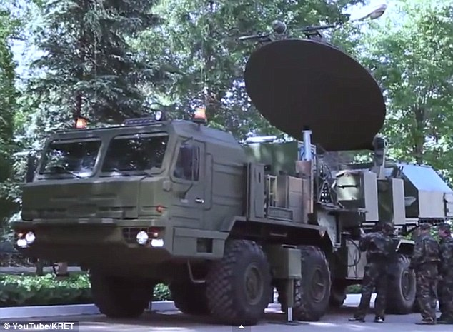 Experts claim a revolutionary new weapon that can jam enemy missile guidance systems and satellites is set to enter testing this year. An earlier version of the system, called Krasuha-4, is shown here.