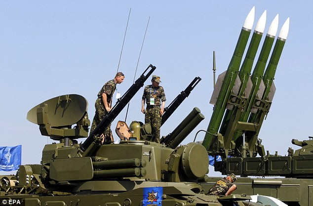 Russian rocket system 'Buk-M2' on display during the MAKS 2011 airshow in the town of Zhukovsky, outside Moscow, Russia.
