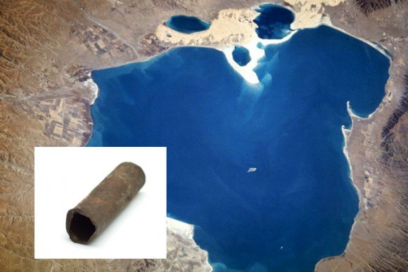 A file photo of a pipe, and a view of Qinghai Lake in China, near which mysterious iron pipes were found.