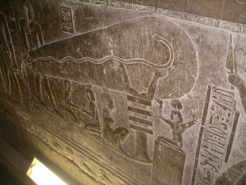 The light-bulb-like object engraved in a crypt under the Temple of Hathor in Egypt. (Lasse Jensen/Wikimedia Commons)