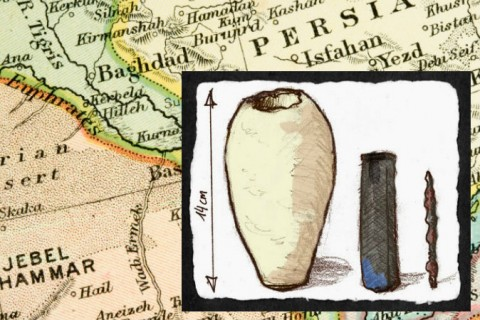 Right: An illustration of a Baghdad battery from museum artifact pictures. (Ironie/Wikimedia Commons) Background: Map of area surrounding present-day Baghdad, Iraq. (Cmcderm1/iStock/Thinkstock)