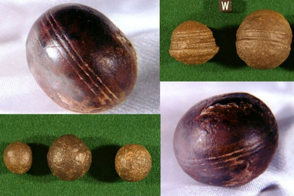 Top left, bottom right: Spheres, known as Klerksdorp spheres, found in the pyrophyllite (wonderstone) deposits near Ottosdal, South Africa. (Robert Huggett) Top right, bottom left: Similar objects known as Moqui marbles from the Navajo Sandstone of southeast Utah. (Paul Heinrich)
