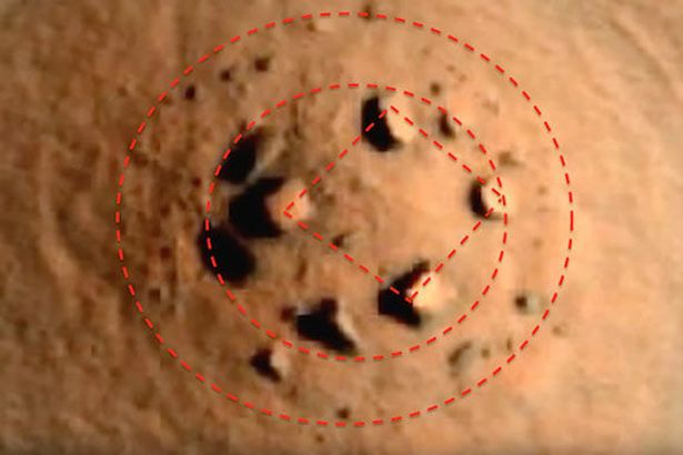 The line up of rocks on Mars' surface that has been dubbed 'Mars Henge'