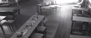 Ghost footage filmed by CCTV inside a bar