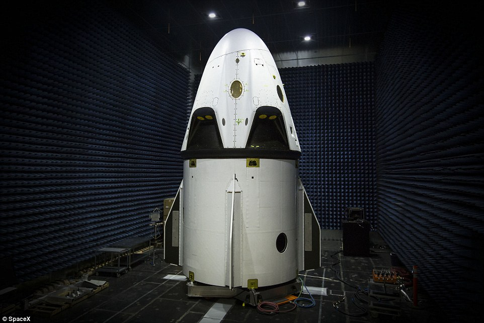 SpaceX is under contract with Nasa to start ferrying astronauts to low Earth orbit and the ISS, beginning in 2017, with the Crew Dragon (shown). Under the $2.6 billion contract, SpaceX will launch the Crew Dragon spacecraft atop the Falcon 9 launch vehicle from Kennedy Space Center in Cape Canaveral, Florida
