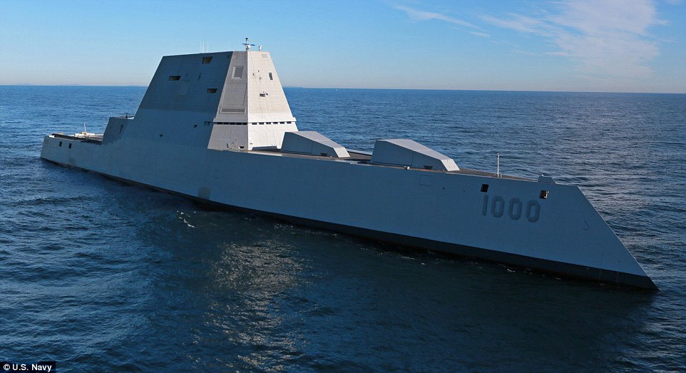 The largest destroyer ever built for the U.S. Navy is currently undergoing sea trials. Future versions of the radical design will be fitted with 'star wars' railguns, if tests go according to plan.
