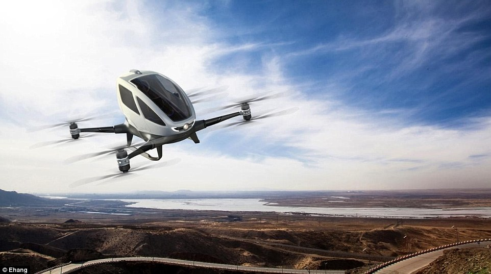 EHang claims to be building the world's first 'Autonomous Aerial Vehicle' for transporting people. 'You know how it feels to sit in a Ferrari? This is 10 times better,' said George Yan, co-founder of Ehang in an interview with DailyMail.com