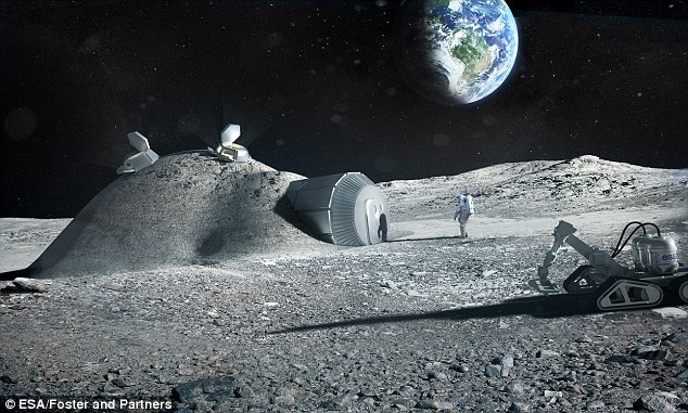 Esa scientists have been testing 3D-printing technology they say could be used on the moon. It was one of a number of proposals discussed at an international conference organised by Esa about returning humans to the lunar surface. A proposed lunar base is illustrated