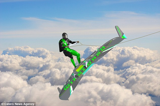 Engineer Aaron Wypyszynkski is developing a new way to surf through the air with an adventure sport he has called Wingboarding (illustrated). He has designed an aerofoil shaped board that a person can stand on and be towed behind an aircraft, allowing them to essentially surf through the sky