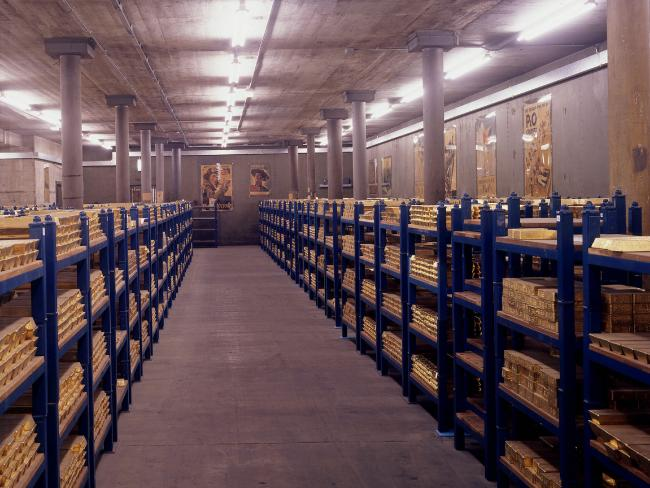 Gold bullion bars in the vaults at the Bank of England.