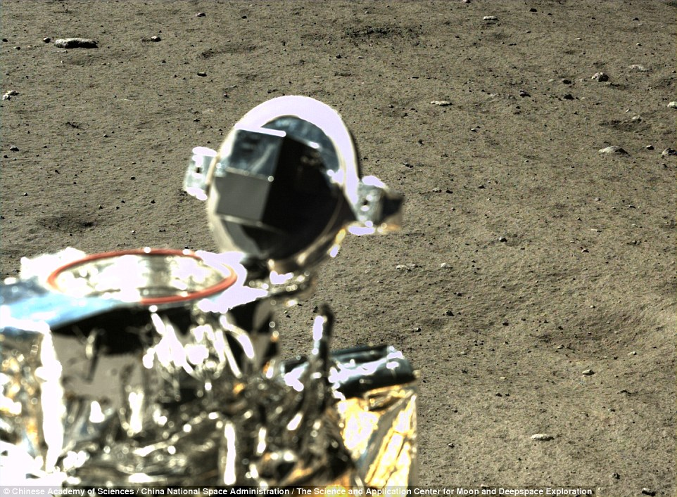 The images show the moon's surface is far from smooth, but is instead littered with pebbles, rocks and boulders