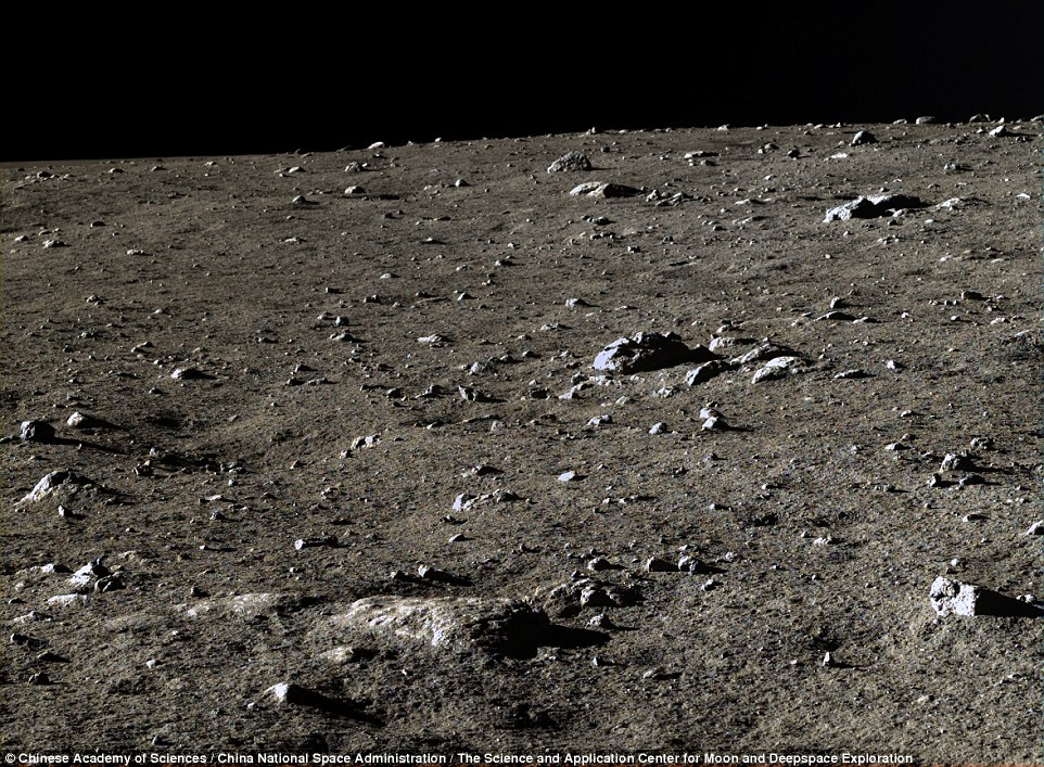 Rock field: Images from the rover show the moon's surface littered with rocks, likely remnants of meteorite collisions