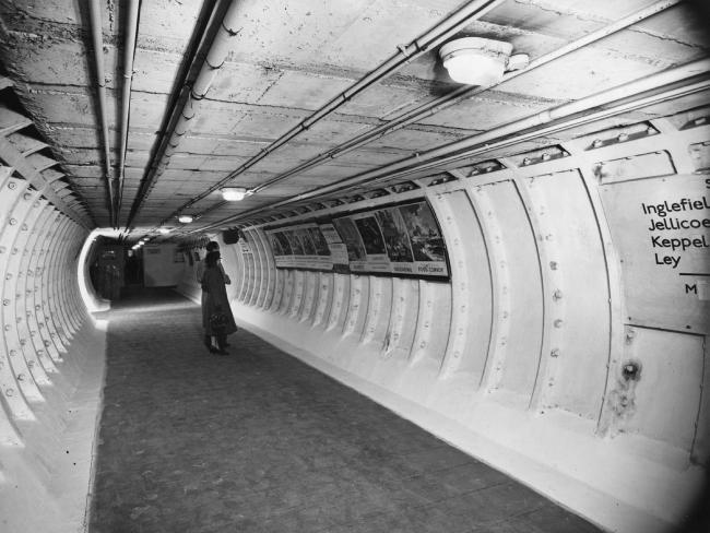One of the main tunnels at Clapham Deep Shelter.