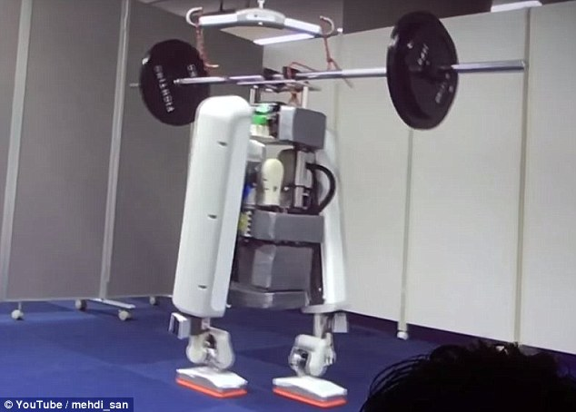 The bipedal prototype (pictured) can reportedly carry 60kg (132 lb) of weight, and is 'aimed at helping society by helping to carry heavy loads