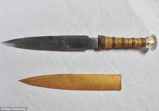 An exquisitely decorated golden dagger found inside the sarcophagus of Tutankhamun has been found to have a blade made from iron that came from a meteorite. Researchers have discovered it has levels of cobalt, nickel and phosphorus that match the chemical composition of a meteorite found in Egypt in 2000