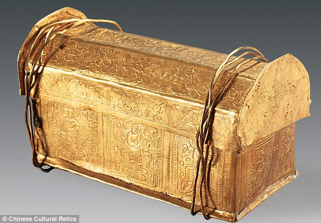 A fragment of bone found in a tiny golden casket (pictured) uncovered in China may have belonged to Siddhartha Gautama, whose teachings became the foundations Buddhism