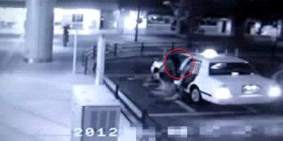 Mysterious GHOST filmed following a man into a taxi