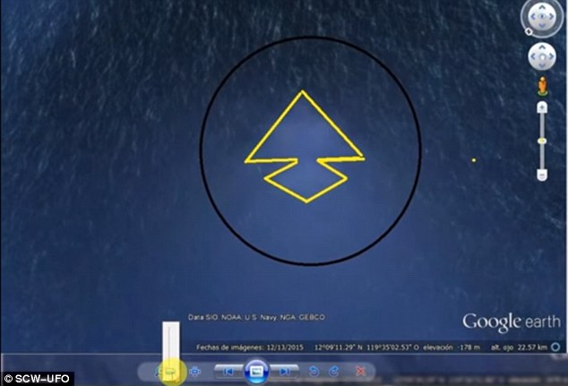 Deep below the Pacific Ocean lies what a Martian researcher has deemed 'a perfect pyramid'. Using Google Earth, this massive structure appears to be 8.5 miles across and could be a UFO parked underwater that is being used as an enormous alien base, as some are speculating