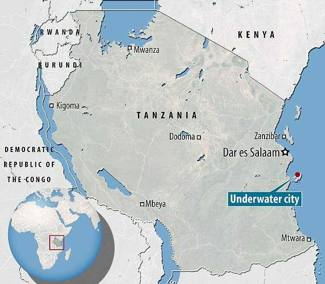 The ruins were found off the coast of Tanzania, near Mafia island, pictured above. A professor of archaeology from Dar es Salaam (also shown on map) University later visited the site and told MailOnline he thinks it could be the lost city of Rhapta