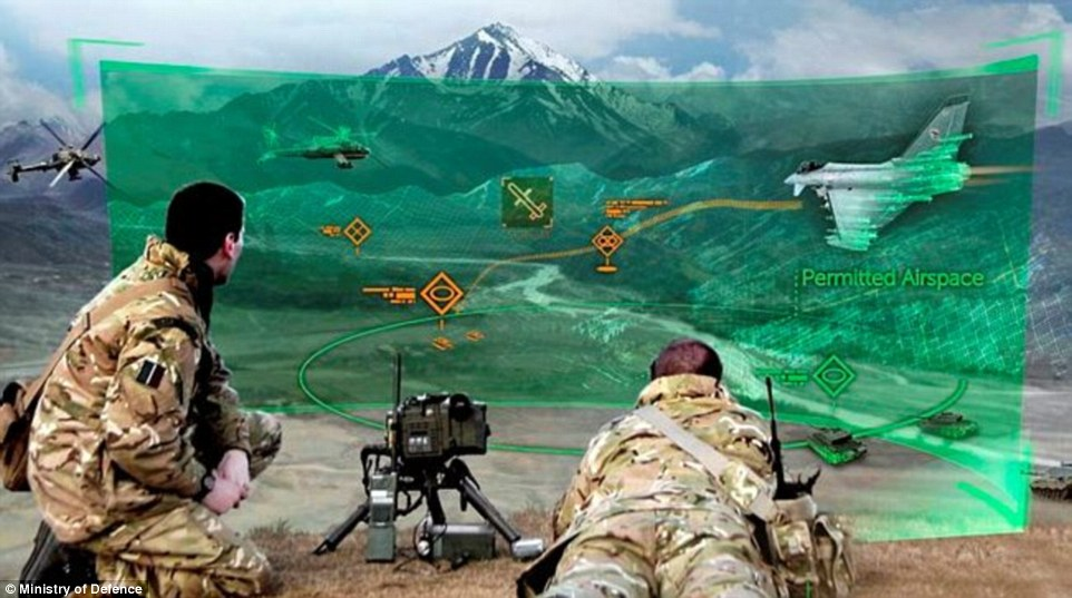 Using specialised headgear, personnel could see simulated aircraft, enemy personnel and vehicles appearing on the real surrounding landscape, immersing and testing soldiers in complex joint forces situations