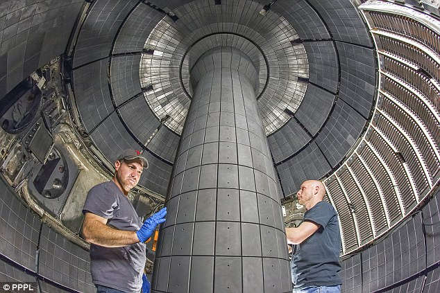 Physicists at the U.S. Department of Energy's Princeton Plasma Physics Laboratory revealed their plan for a next generation fusion device in a paper published in the journal Nuclear Fusion. Pictured, researchers inside the centre stack of the $94-million upgrade of the National Spherical Torus Experiment-Upgrade, which began operating last year.