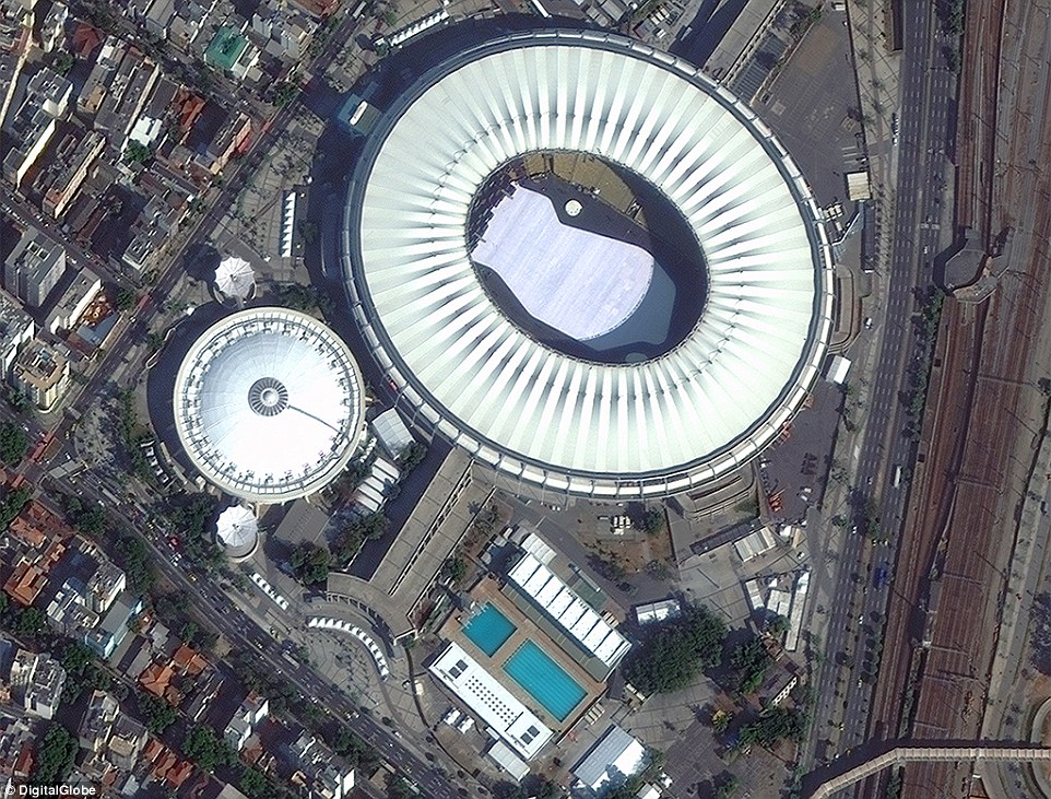 SpaceNet will launch with an initial contribution of DigitalGlobe multi-spectral satellite imagery and 200,000 curated building footprints across the city of Rio de Janeiro, Brazil. Pictured, the main Olympic stadium from the data.