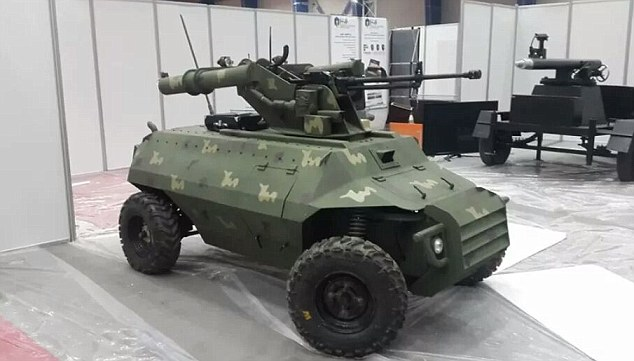 Iraq is preparing a remote controlled attack vehicle being which experts say could be used in the fight to retake the city of Mosul from Isis. Pictured is the vehicle, called Alrobot, at a defense exhibition earlier this year