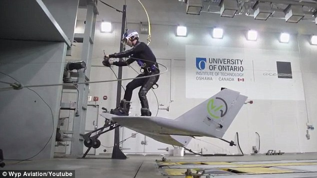 The WingBoard has just completed its first manned test in a wind tunnel (pictured), meaning it is one step closer to taking to the skies and letting riders soar behind a plane that's towing them