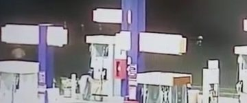 Mysterious footage shows two men chasing after strange 'glowing' figure at gas station