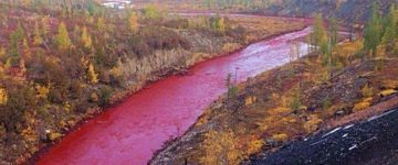 Locals stunned after river turns blood red