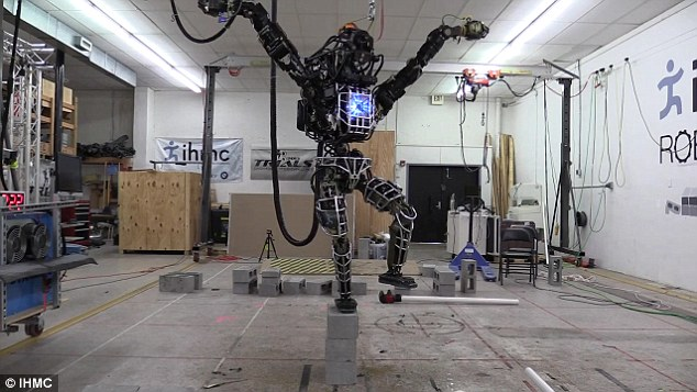 The team has previously recreated the 'crane kick' from the Karate Kid movie, teaching the robot to stand on one leg  (pictured).