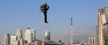 Pilot takes to the skies in Britain's first jetpack flight
