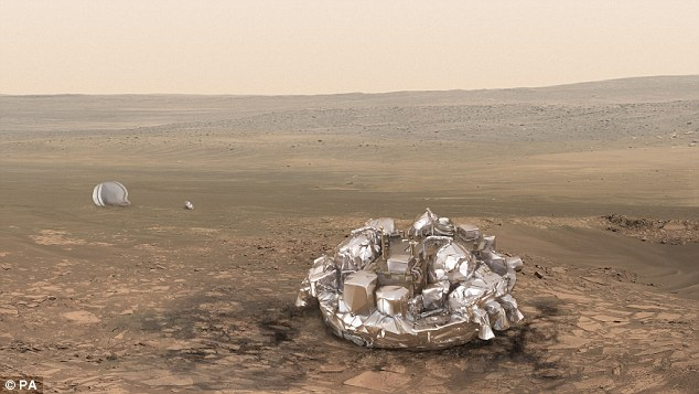Artist's impression of the  Schiaparelli lander in one piece on the Martian surface. Scientists are sifting through large amounts of data transmitted by Schiaparelli until the signal was abruptly cut off