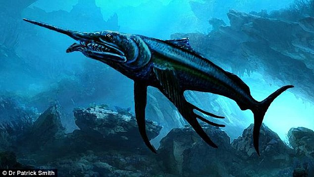 Two Queensland families discovered a three metre-long swordfish-like predator. Pictured is a digital image of the Australopachycormus hurleyi