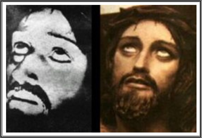 According to Father Ernetti, he had observed, among other historical events, Christ's crucifixion and photographed it as well. The image to the left is the one obtained using the Chronovisor. On the right is a similar image located in a Church in Perugia.
