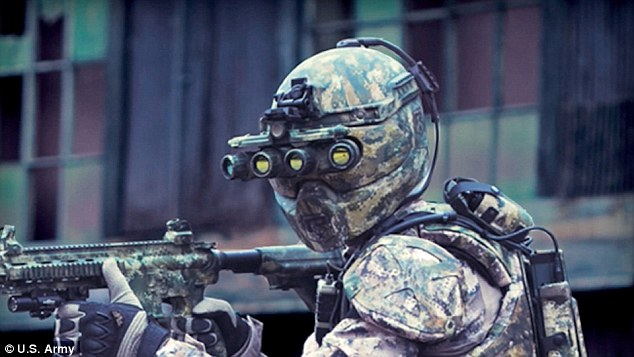 The Tactical Assault Light Operator Suit (Talos) would effectively give its wearer superpowers, such as the ability to see in the dark, super-human strength and a way of deflecting bullets. Pictured, a prototype headset from Revision Military.