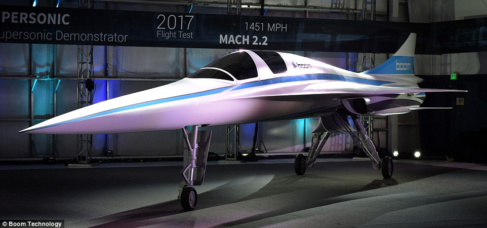 Claimed to be the 'world's fastest civil aircraft ever made', the XB-1 Supersonic Demonstrator is due to take off on its first test flight in late 2017 and could take passengers from London to New York in 3.5 hours. The prototype is pictured ahead of its official unveiling later today