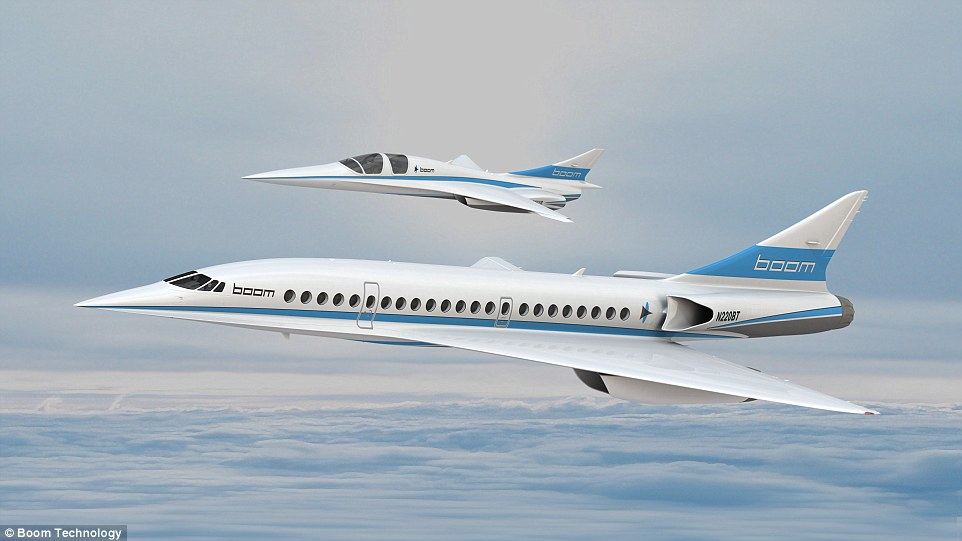 The subscale XB-1 'Baby Boom' jet (pictured top) is set to pave the way for the larger Boom Passenger Airliner (pictured bottom)