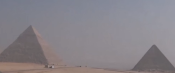 Another video of pyramids hovering above the pyramids of Giza