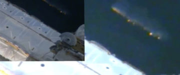 Large UFO filmed next to the International Space Station