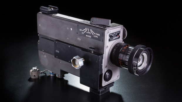 A movie camera brought back by Neil Armstrong, found by his widow more than four decades after the Apollo 11 moon landing. Photo: AP/National Air and Space Museum, Smithsonian Institution